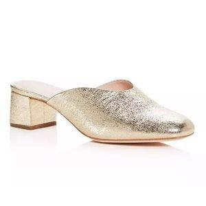 NEW Loeffler Randall Gold Leather Mules Shoes 6.5